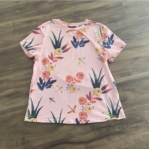 Shein Pink Floral and Dragonfly Print T-Shirt Top